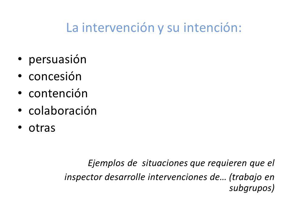 La intervención y su intención: