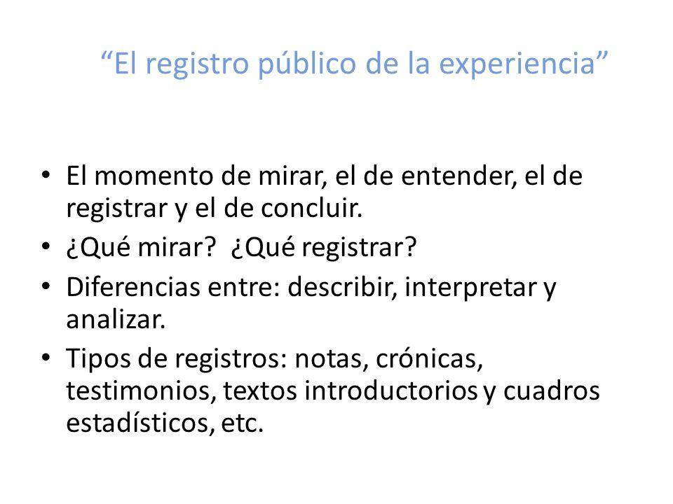 El registro público de la experiencia