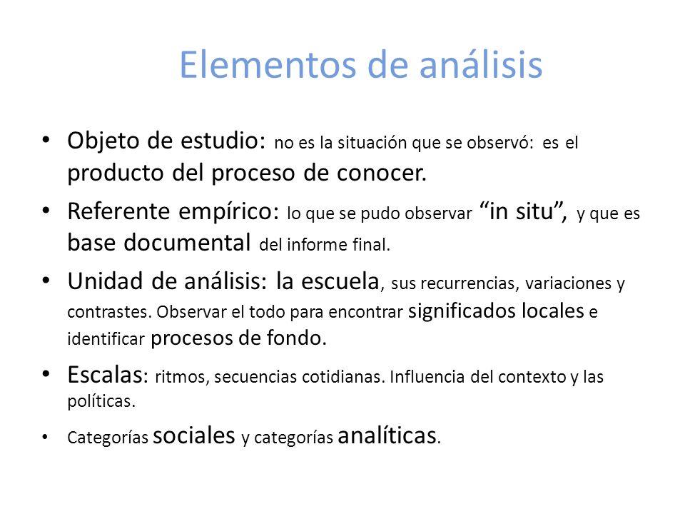 Elementos de análisis Objeto de estudio: no es la situación que se observó: es el producto del proceso de conocer.