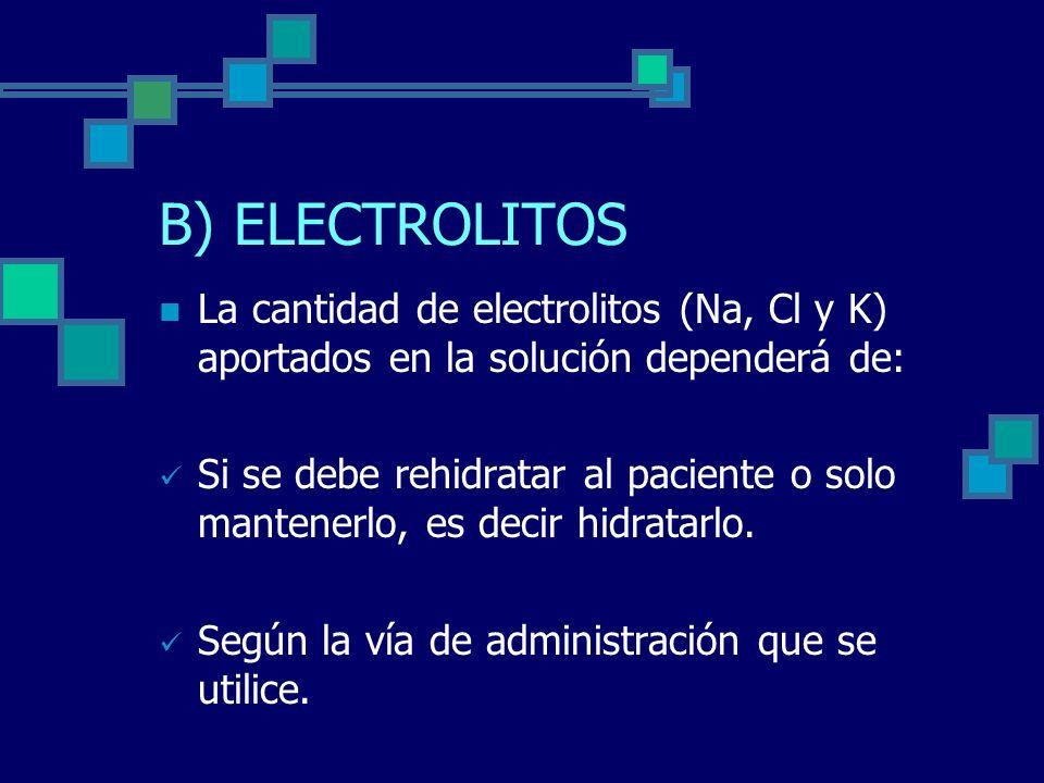 B) ELECTROLITOS La cantidad de electrolitos (Na, Cl y K) aportados en la solución dependerá de: