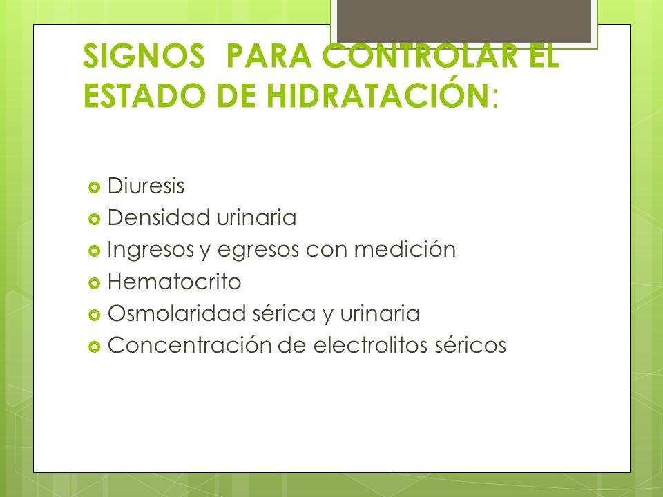 SIGNOS PARA CONTROLAR EL ESTADO DE HIDRATACIÓN: