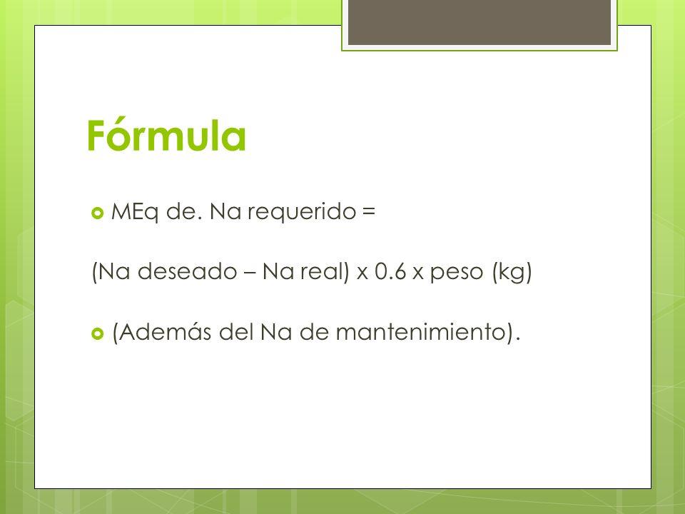 Fórmula MEq de. Na requerido =