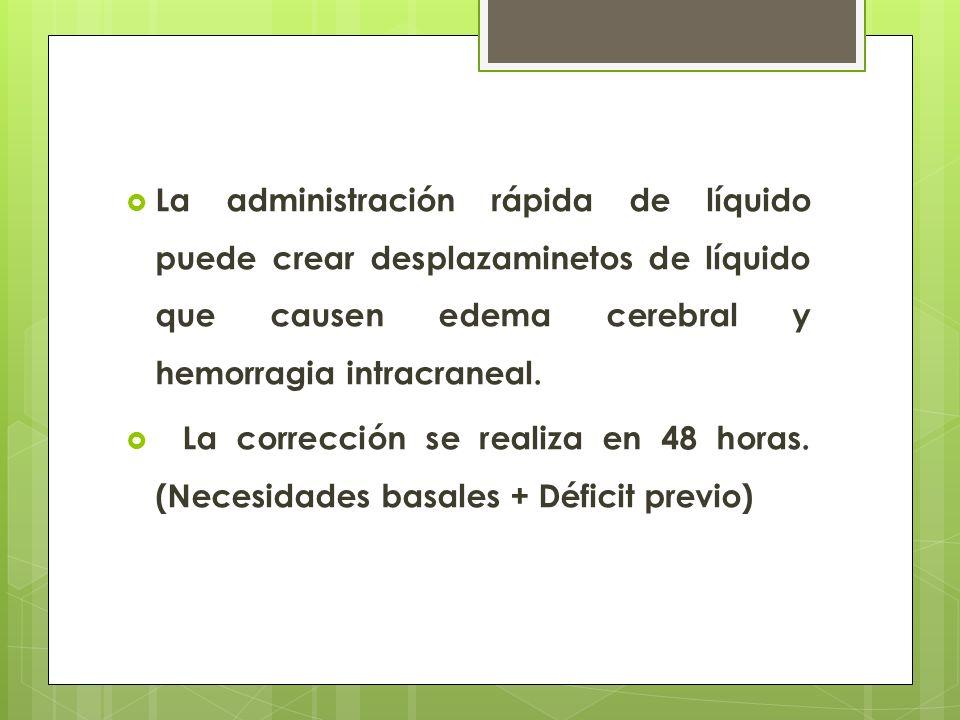 La administración rápida de líquido puede crear desplazaminetos de líquido que causen edema cerebral y hemorragia intracraneal.