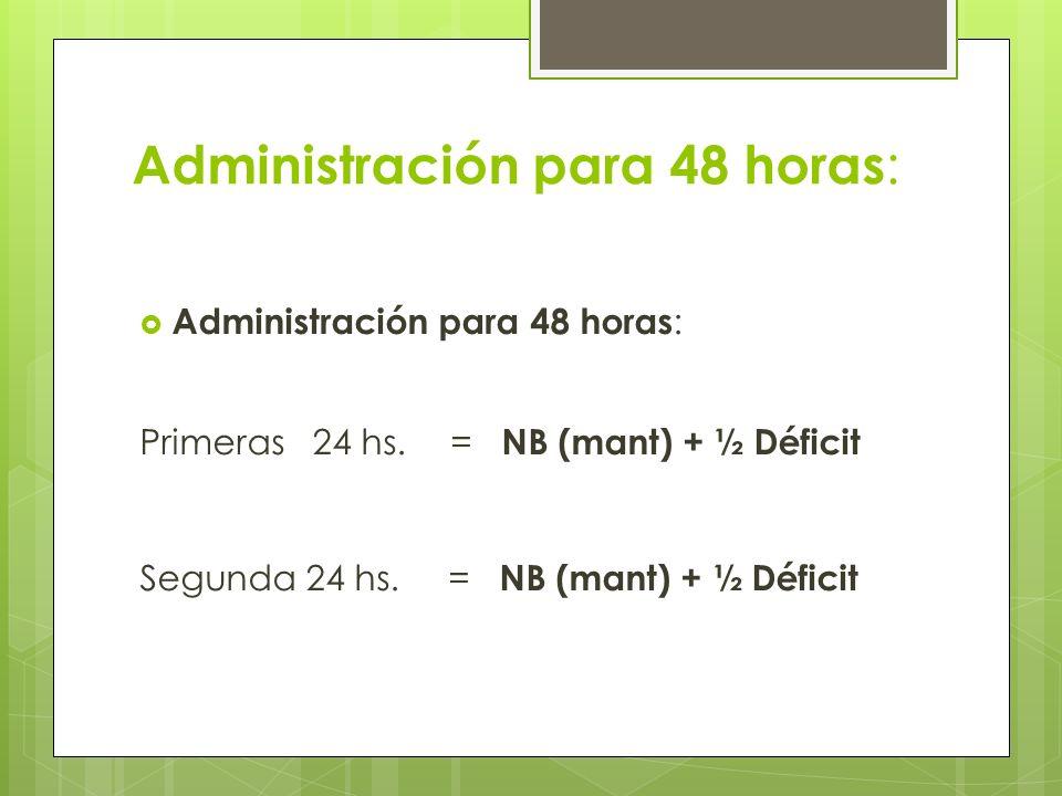 Administración para 48 horas: