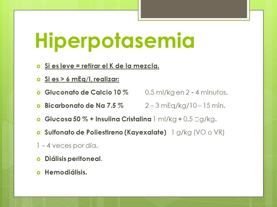 Hiperpotasemia Si es leve = retirar el K de la mezcla.
