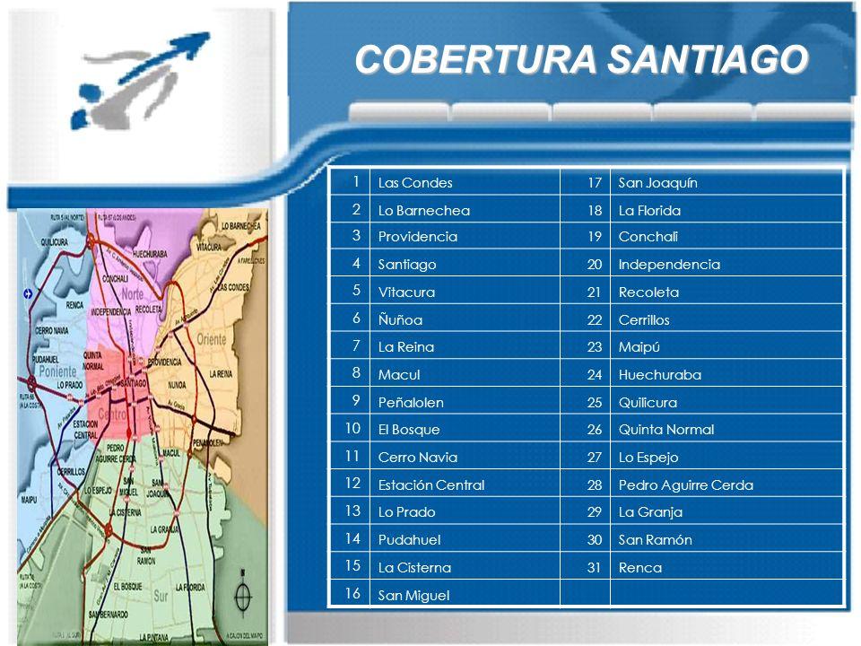 COBERTURA SANTIAGO 1 2 3 4 5 6 7 8 9 10 11 12 13 14 15 16 Las Condes