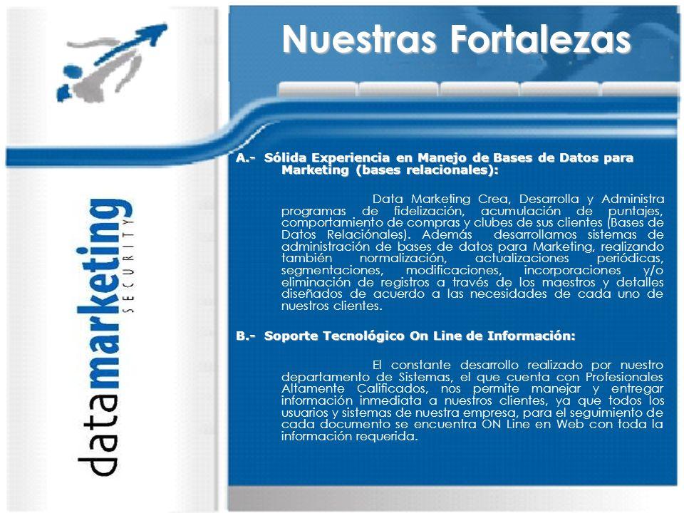 Nuestras Fortalezas A.- Sólida Experiencia en Manejo de Bases de Datos para Marketing (bases relacionales):