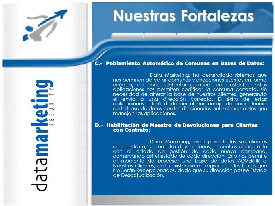 Nuestras Fortalezas C.- Poblamiento Automático de Comunas en Bases de Datos: