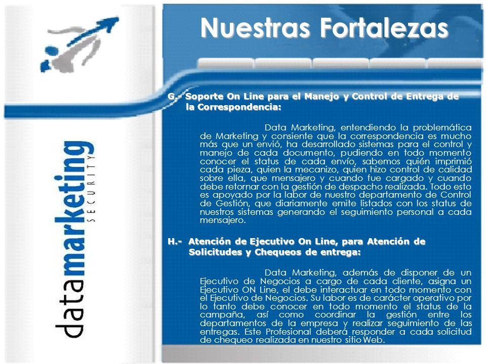 Nuestras Fortalezas G.- Soporte On Line para el Manejo y Control de Entrega de. la Correspondencia: