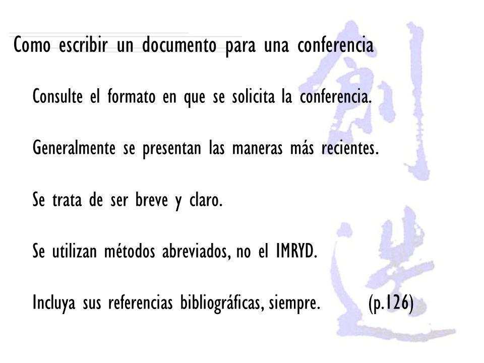 Como escribir un documento para una conferencia