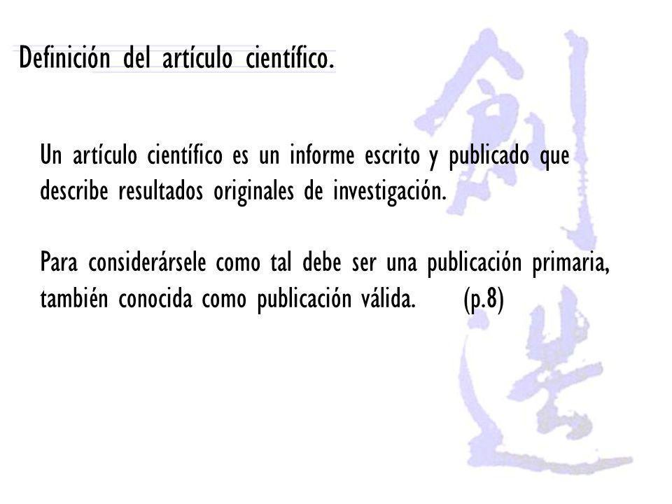 Definición del artículo científico.