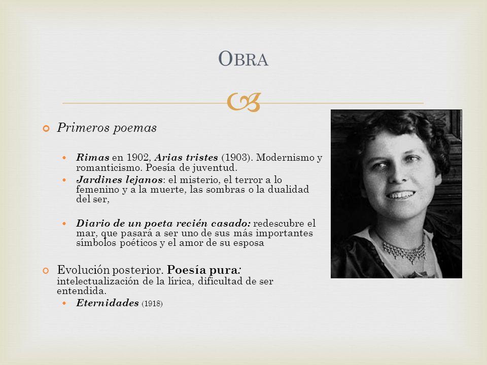 Obra Primeros poemas. Rimas en 1902, Arias tristes (1903). Modernismo y romanticismo. Poesía de juventud.