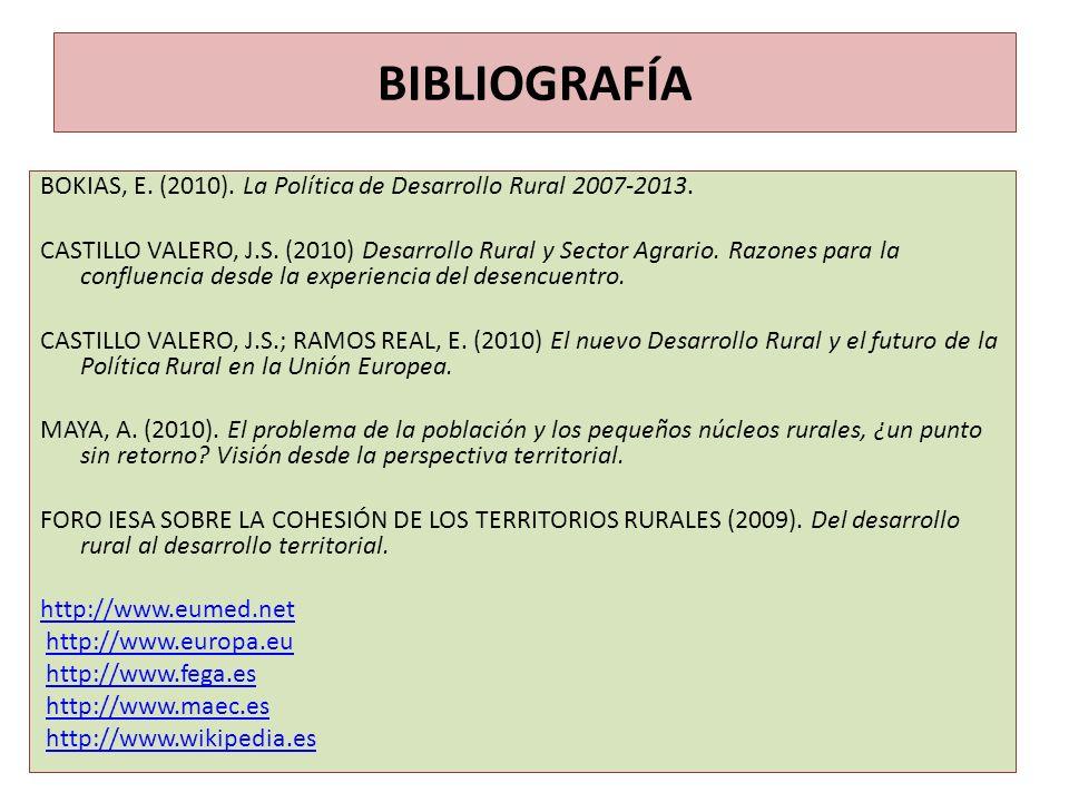 BIBLIOGRAFÍA BOKIAS, E. (2010). La Política de Desarrollo Rural 2007-2013.
