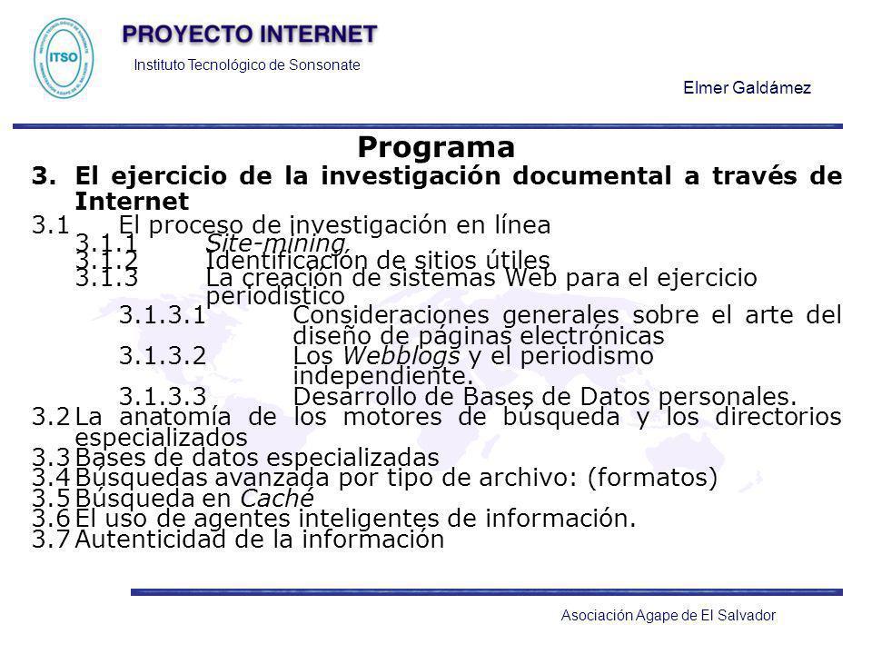 Programa3. El ejercicio de la investigación documental a través de Internet. 3.1 El proceso de investigación en línea.