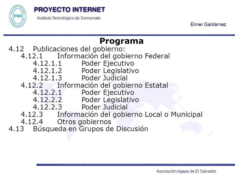 Programa 4.12 Publicaciones del gobierno: