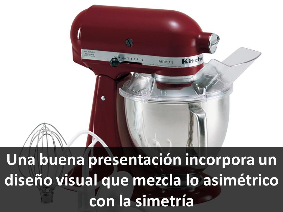 Una buena presentación incorpora un diseño visual que mezcla lo asimétrico con la simetría