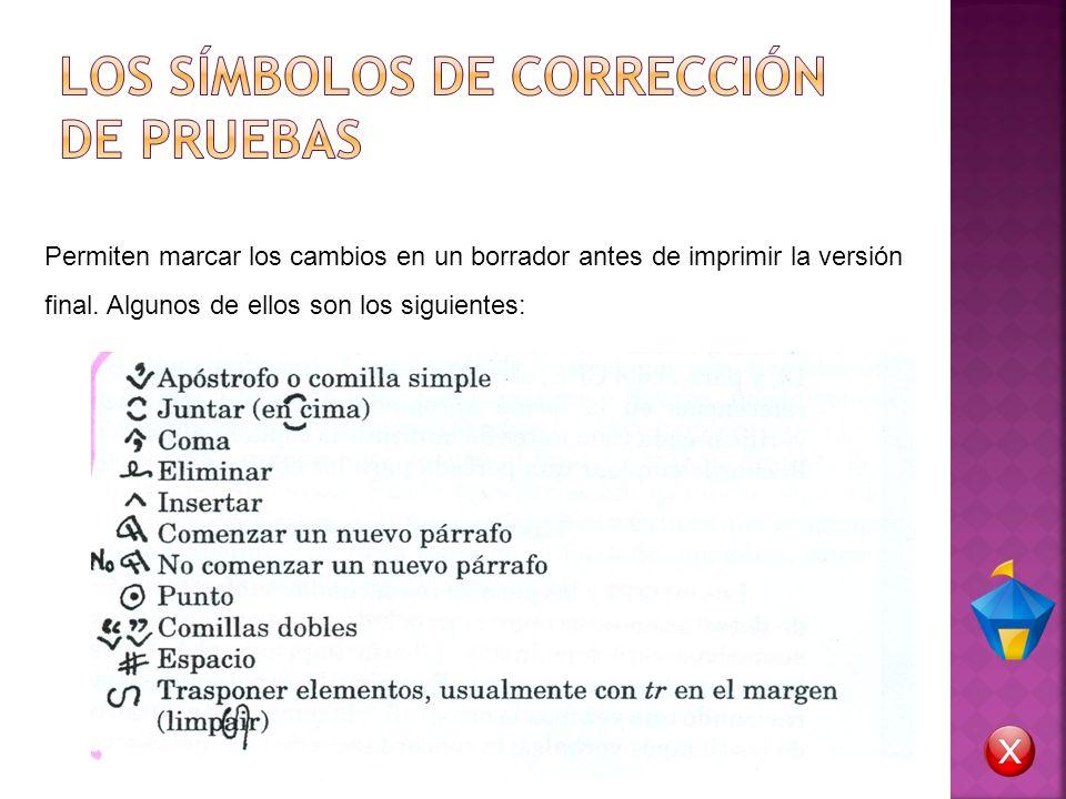 LOS SÍMBOLOS DE CORRECCIÓN DE PRUEBAS