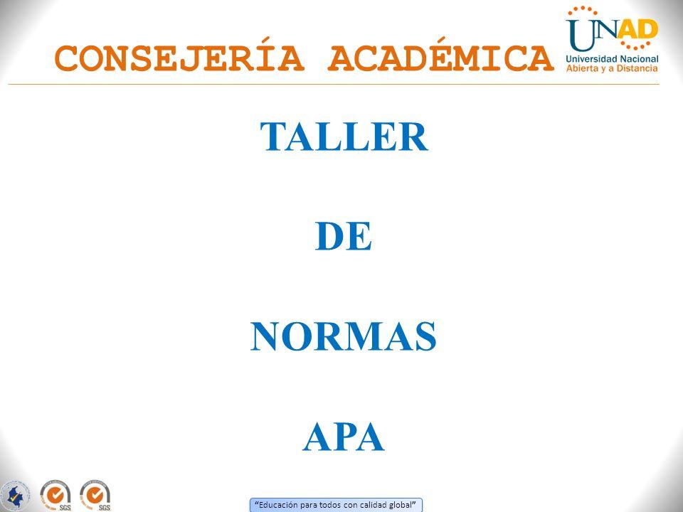 CONSEJERÍA ACADÉMICA TALLER DE NORMAS APA
