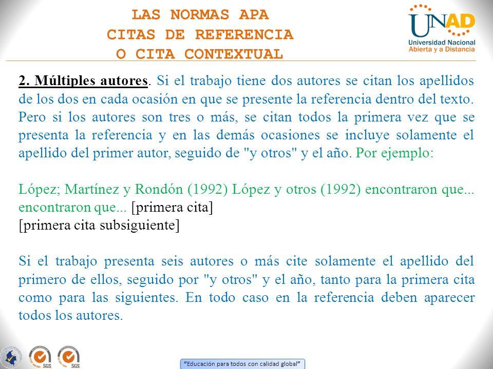 LAS NORMAS APA CITAS DE REFERENCIA O CITA CONTEXTUAL