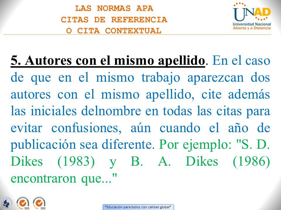 LAS NORMAS APA CITAS DE REFERENCIA. O CITA CONTEXTUAL.