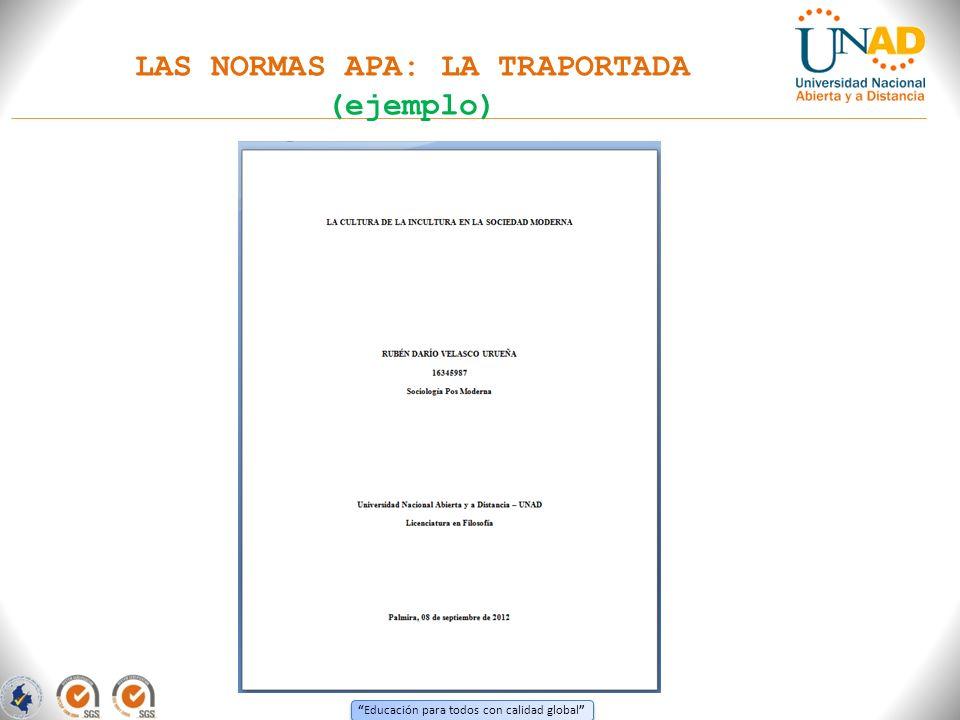 LAS NORMAS APA: LA TRAPORTADA (ejemplo)