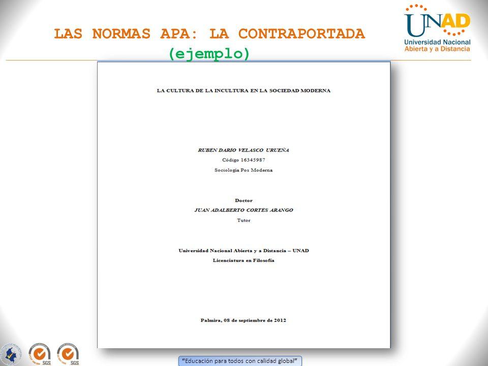 LAS NORMAS APA: LA CONTRAPORTADA (ejemplo)
