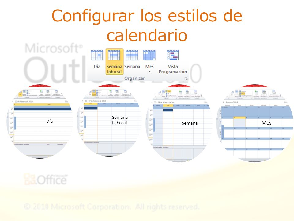 Configurar los estilos de calendario