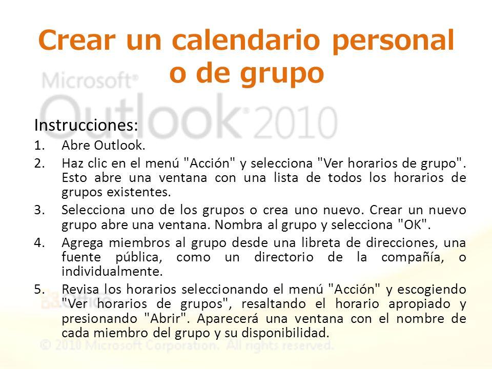 Crear un calendario personal o de grupo