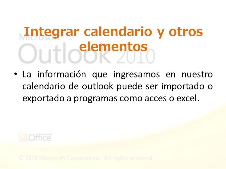 Integrar calendario y otros elementos