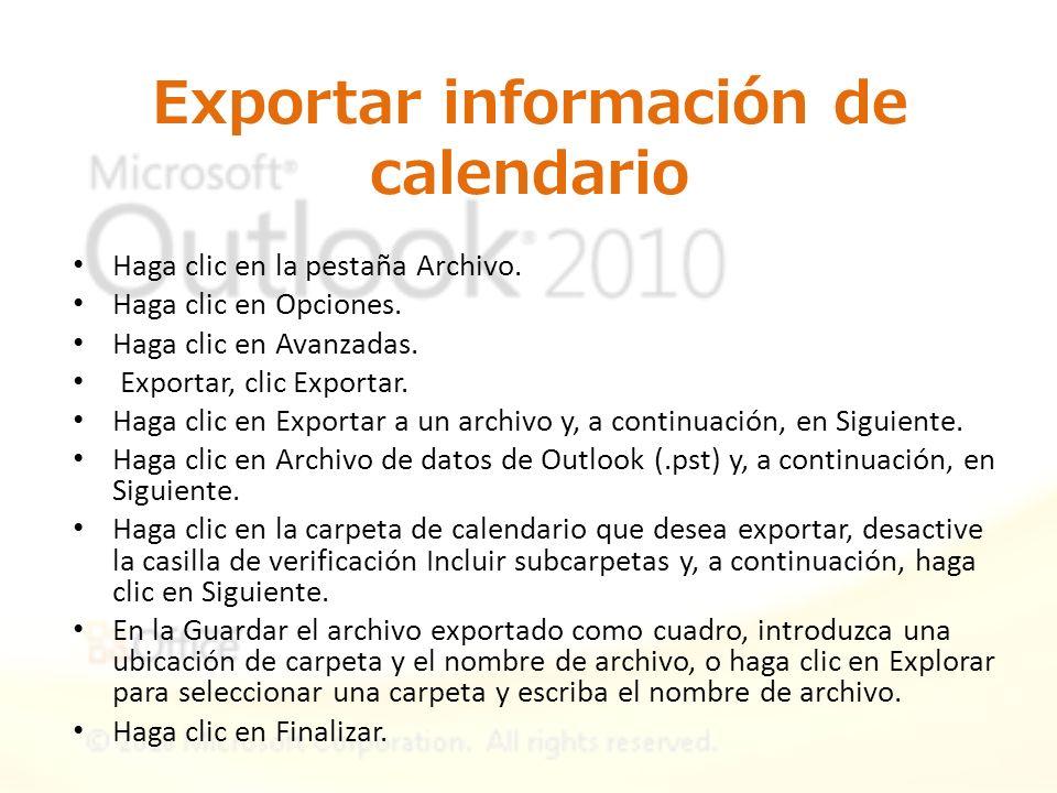 Exportar información de calendario