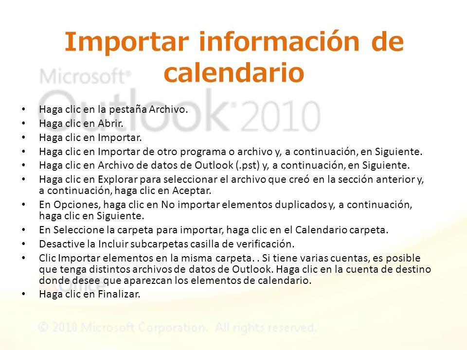 Importar información de calendario