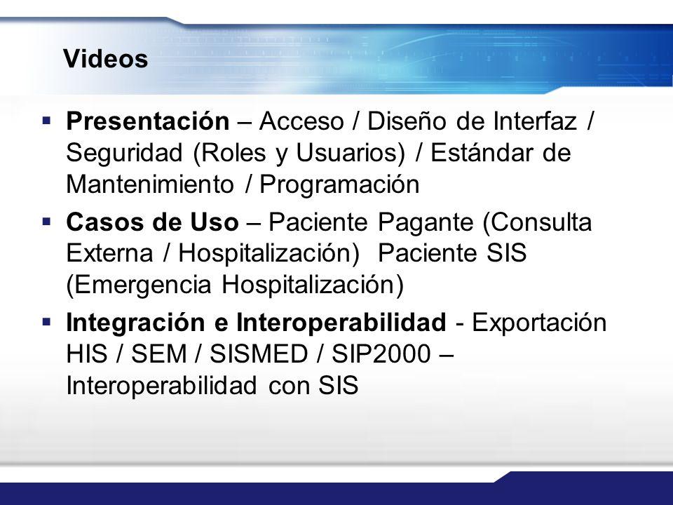 Videos Presentación – Acceso / Diseño de Interfaz / Seguridad (Roles y Usuarios) / Estándar de Mantenimiento / Programación.