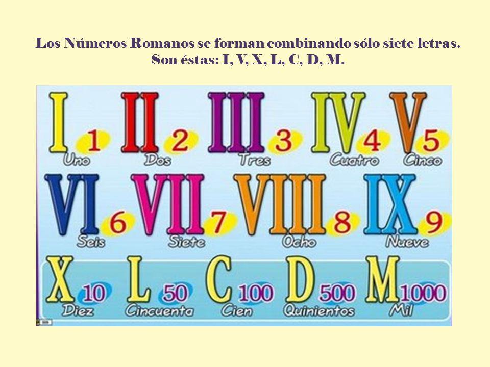 Los Números Romanos se forman combinando sólo siete letras.