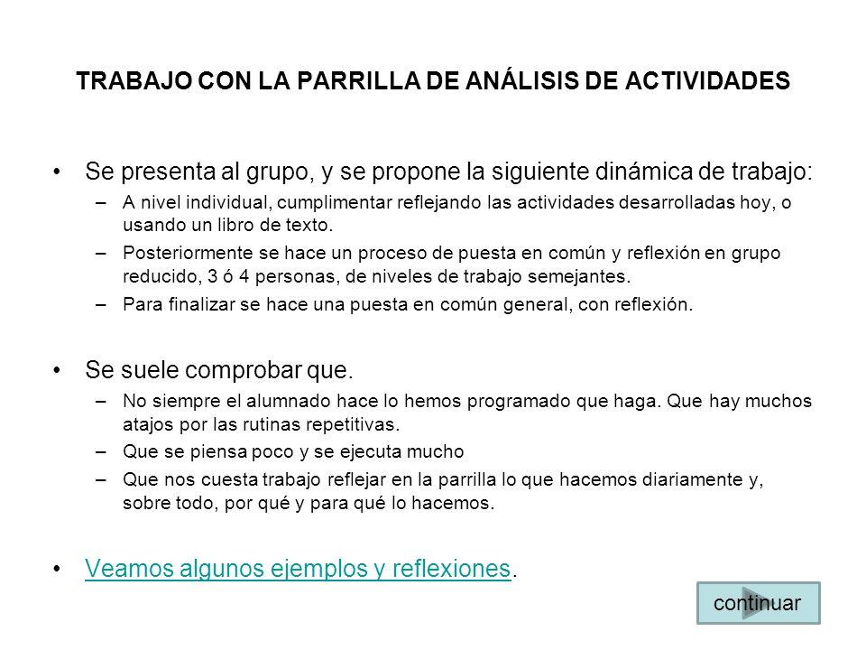 TRABAJO CON LA PARRILLA DE ANÁLISIS DE ACTIVIDADES