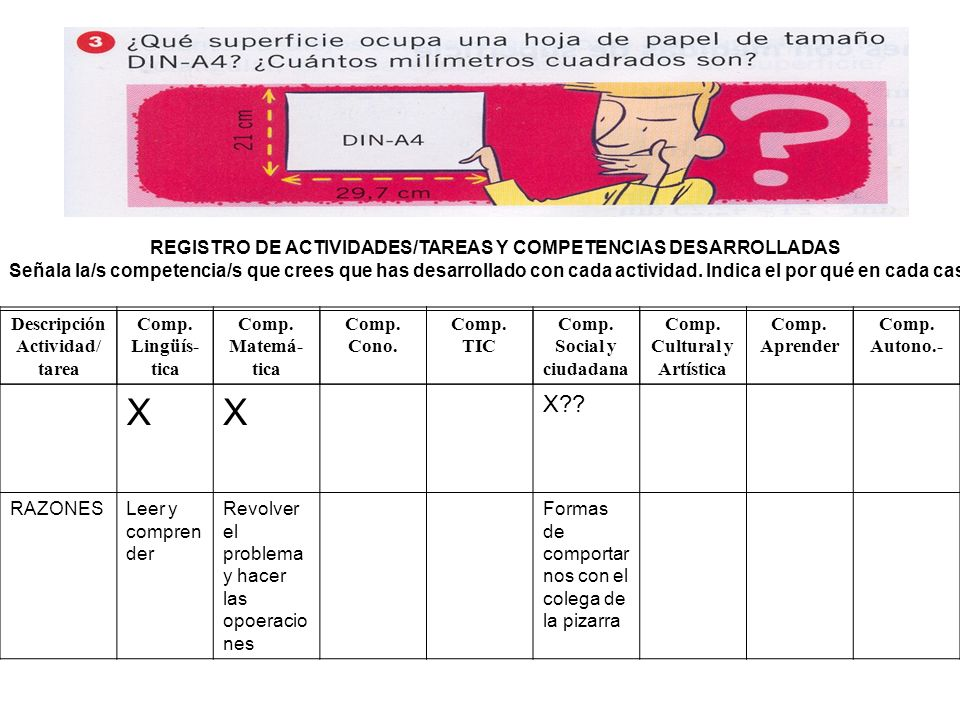 X X REGISTRO DE ACTIVIDADES/TAREAS Y COMPETENCIAS DESARROLLADAS