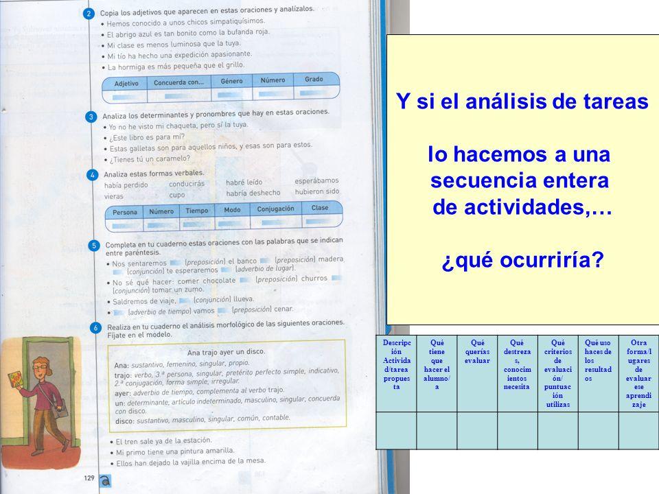 Y si el análisis de tareas lo hacemos a una secuencia entera