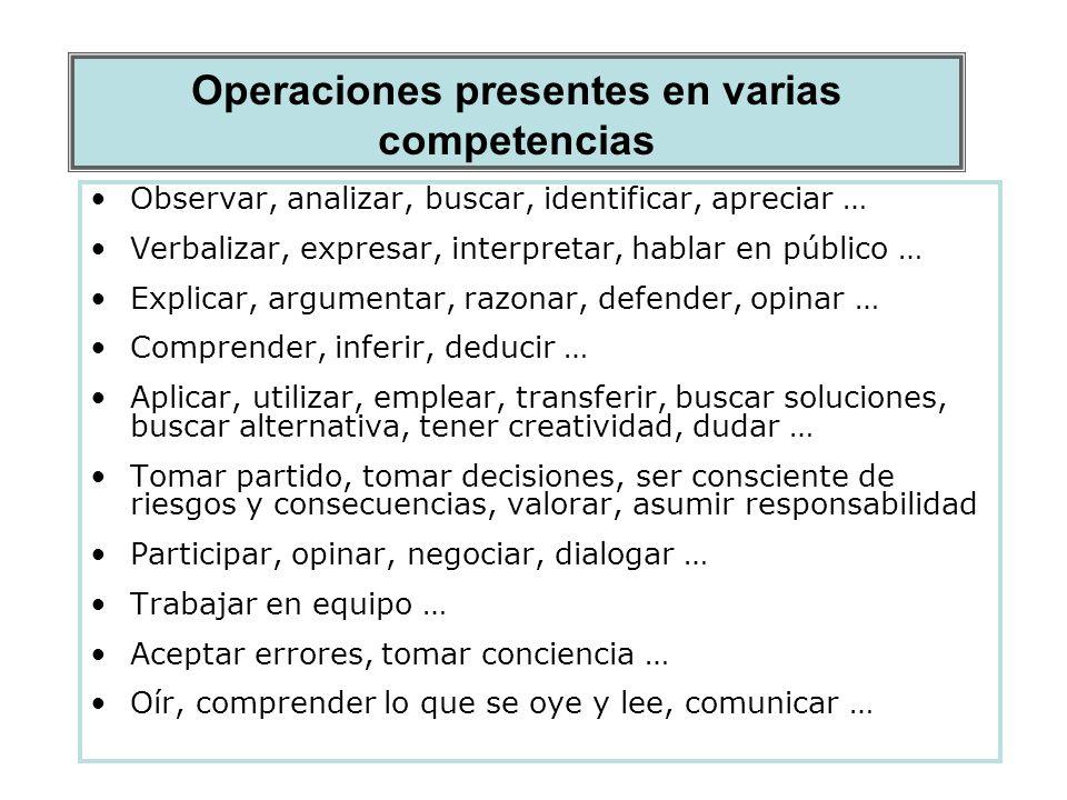 Operaciones presentes en varias competencias