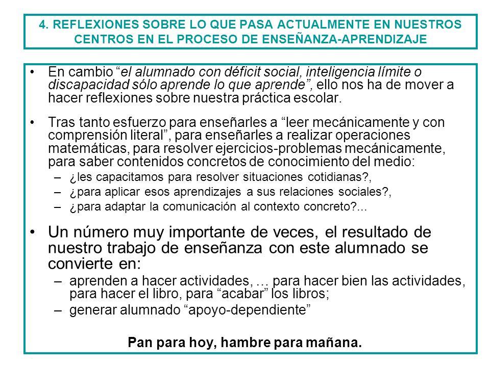 4. REFLEXIONES SOBRE LO QUE PASA ACTUALMENTE EN NUESTROS CENTROS EN EL PROCESO DE ENSEÑANZA-APRENDIZAJE