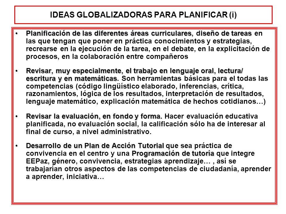 IDEAS GLOBALIZADORAS PARA PLANIFICAR (i)