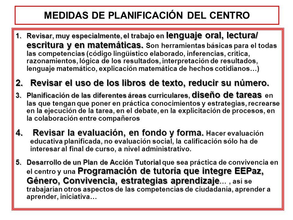 MEDIDAS DE PLANIFICACIÓN DEL CENTRO