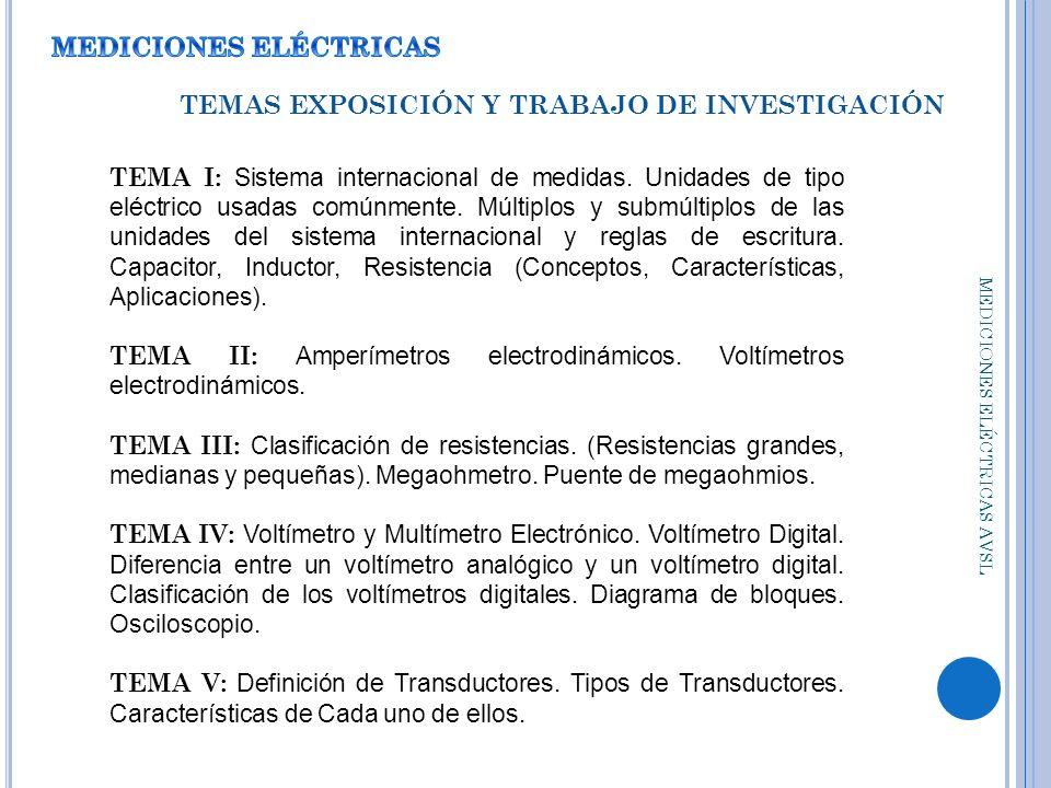 MEDICIONES ELÉCTRICAS TEMAS EXPOSICIÓN Y TRABAJO DE INVESTIGACIÓN