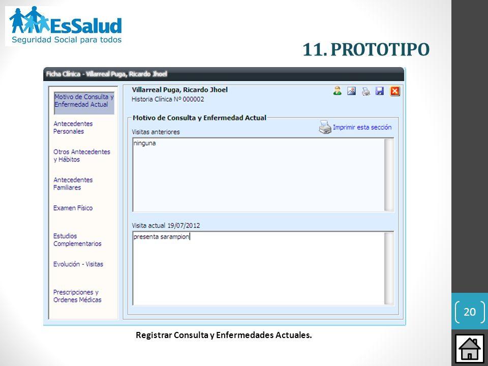 Registrar Consulta y Enfermedades Actuales.