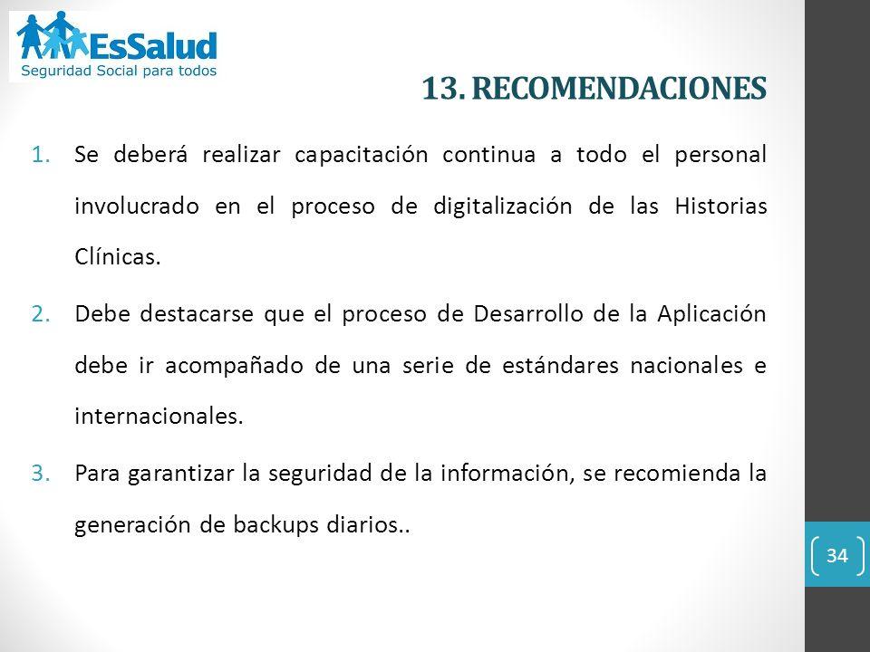 13. RECOMENDACIONES
