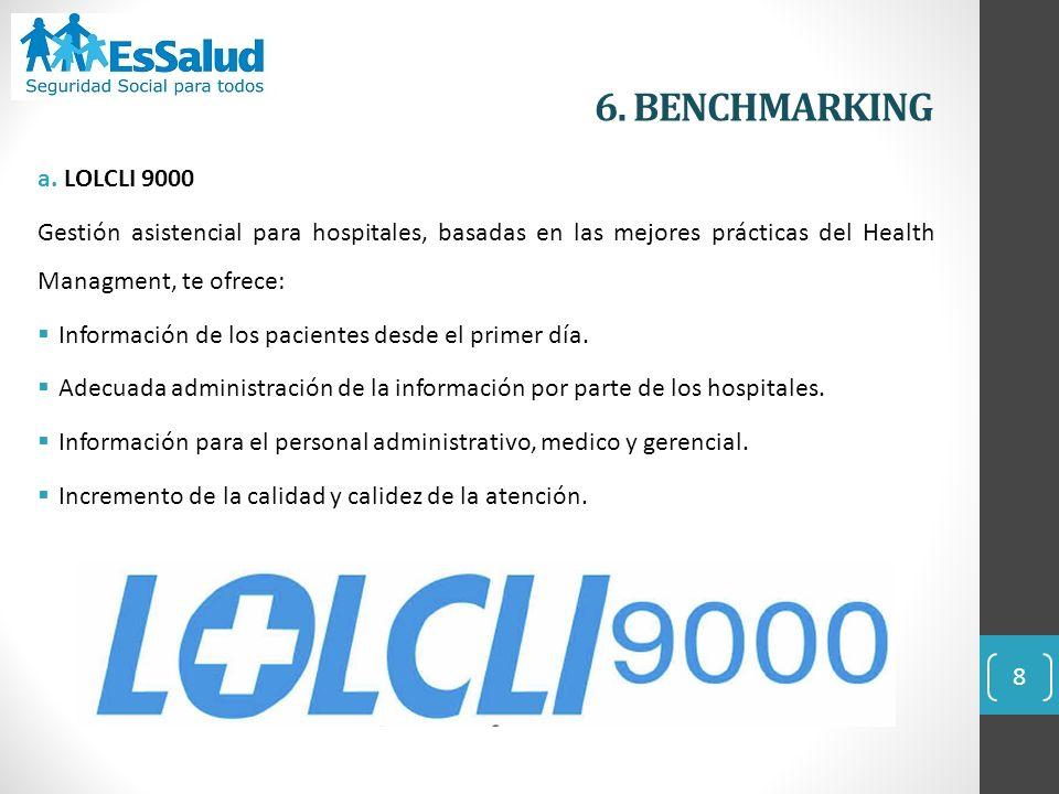 6. BENCHMARKING a. LOLCLI 9000. Gestión asistencial para hospitales, basadas en las mejores prácticas del Health Managment, te ofrece: