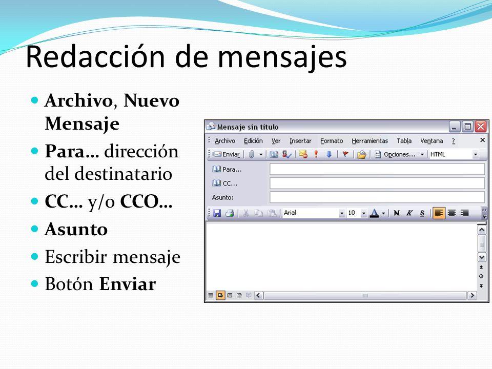Redacción de mensajes Archivo, Nuevo Mensaje