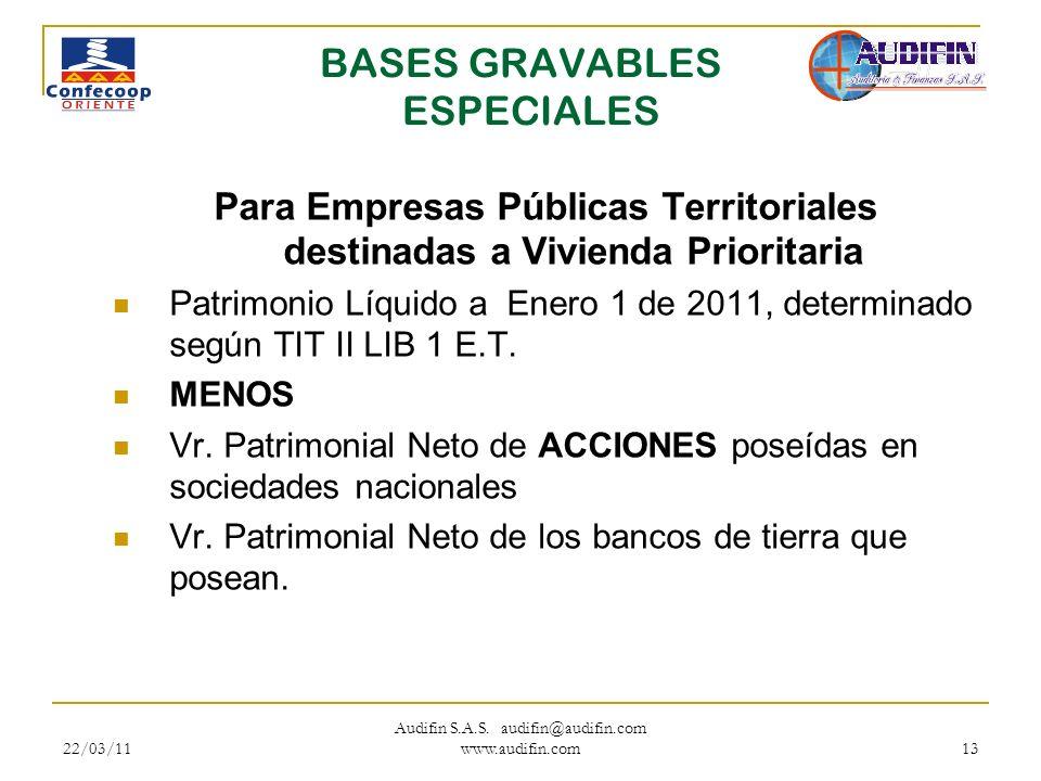 BASES GRAVABLES ESPECIALES