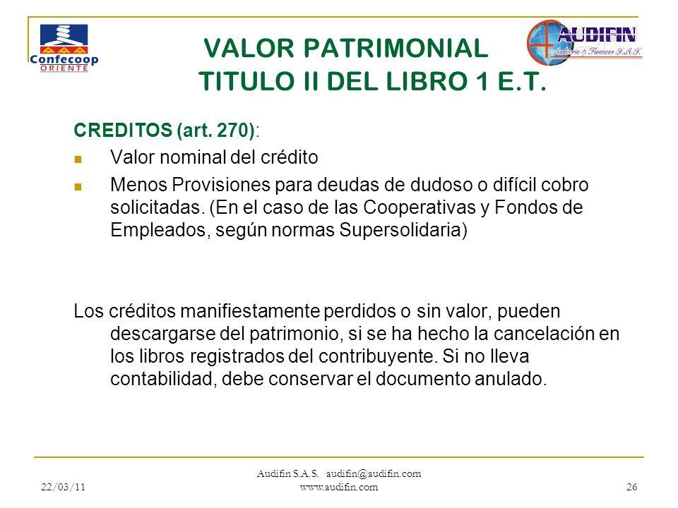 VALOR PATRIMONIAL TITULO II DEL LIBRO 1 E.T.