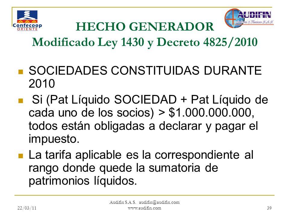 HECHO GENERADOR Modificado Ley 1430 y Decreto 4825/2010