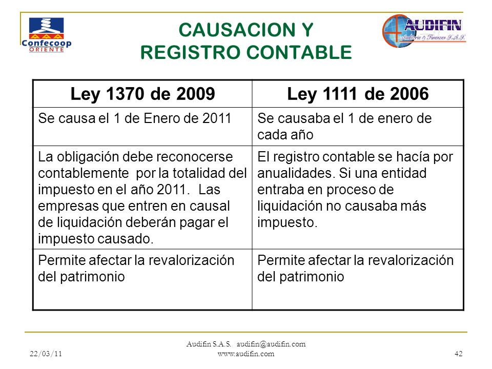 CAUSACION Y REGISTRO CONTABLE