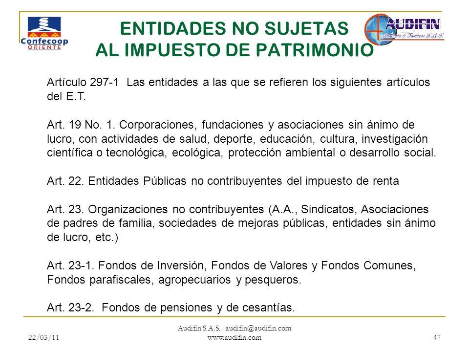 ENTIDADES NO SUJETAS AL IMPUESTO DE PATRIMONIO